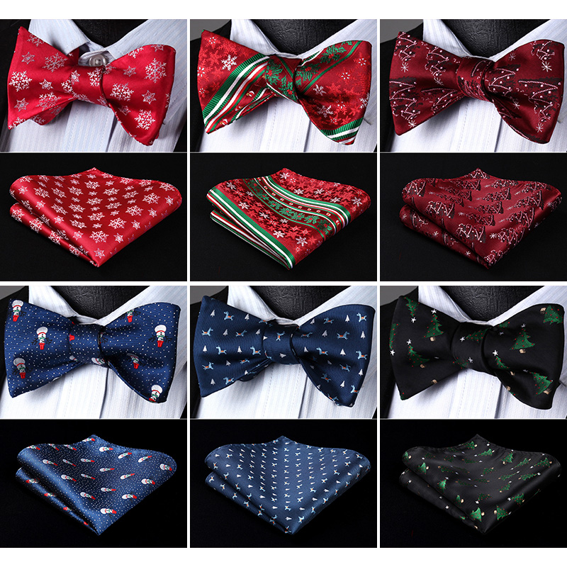 Christmas Gift 100% Silk  Jacquard Woven Men Classic Butterfly Self Bow  Tie BowTie Set
