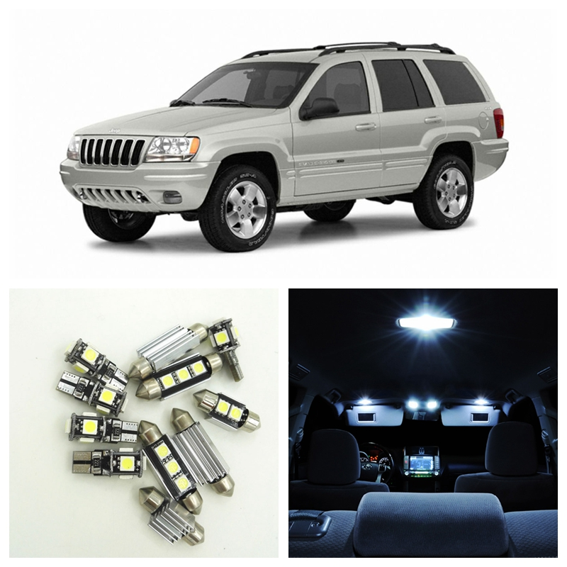 10pcs Canbus White Car LED Light Bulbs Interior Package Kit For 1999 2004  Jeep Grand