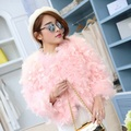 Free Shipping genuine ostrich coat Women Ostrich Fur jacket with Feather Overcoat spring fur waistcoats customized big size