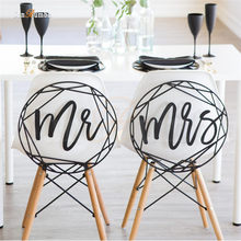 2pcs Mr Mrs Sign Wedding Decoration Party Decorations Wood Rustic Decor Supplies for Chairs Decorating Photo Booth Props