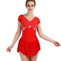Figure Skating Dress Women Red Short Sleeve Rhinestone Elasticity Girls Professional Performance Figure Skating Dresses ZH8038