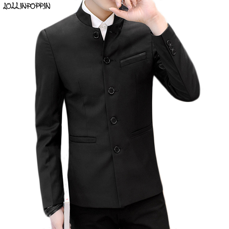 Mandarin Collar Men Mao Jacket Tunic Suit Jacket Chinese Style Mens Stand Collar Slim Fit Coat 2019 New Single Breasted Blazer