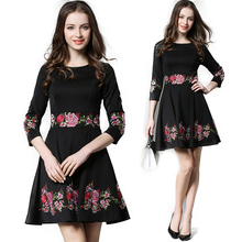 Dress Women 2017 Patchwork Tunic Pleated Dresses Embroidery Floral Work Clothes For Women Female Black Club Dress Vestidos Mujer