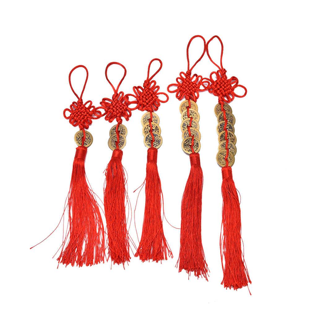 Vintage 1/2/3/5/6 paraları kırmızı çin düğüm bakır Feng Shui servet başarı şanslı charm ev araba askısı 1 adet