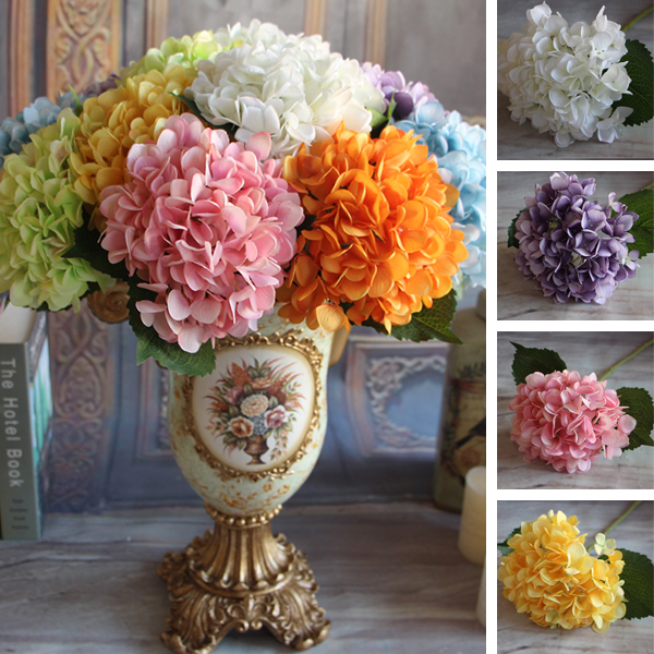 Yellow French Rose Artificial Silk Peony Flower Arrangement Room Hydrangea Wedding Home Decor Party DIY