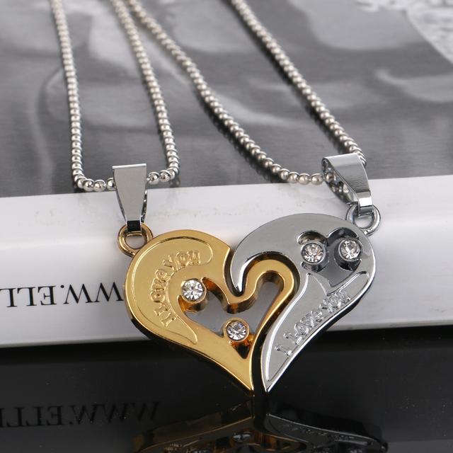 Broken Hearts I Love You Rhinestones Pendant with Chain