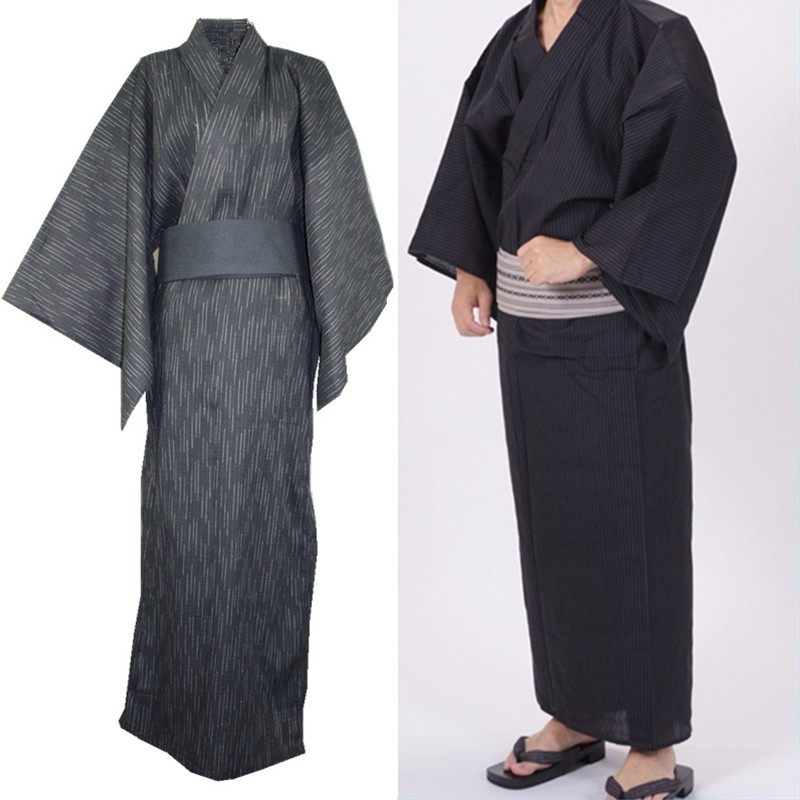 Traditional Japanese Male Yukata 100% Cotton Men's Bath Robe Kimono Sleepwear Obi