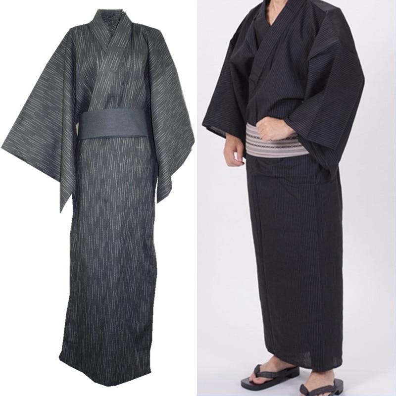 Traditional Japanese Male Kimono Men's Robe Yukata 100% Cotton Men's Bath Robe Kimono Sleepwear Obi Belt Buy Separately