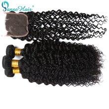 Panse Hair – tissage de cheveux brésiliens Remy crépus bouclés, trame de couleur naturelle, avec Closure 4x4, paquets personnalisés de 8 à 28 pouces, 1 pièce