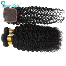 Weaving Hair Customized Kinky Curly 3-Bundles Brazilian Weft Closure 4x4 8-To-28-Inches