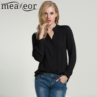 Meaneor Autumn Spring Women Chiffon Shirt Blouse 2016 2017 New Casual Long Sleeve Tops Red Black