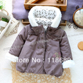 Envío libre al por menor nuevo 2014 otoño chica abrigo de invierno chaqueta wadded ropa térmica ropa del bebé de los niños sudaderas con capucha parka abrigo ropa de bebé