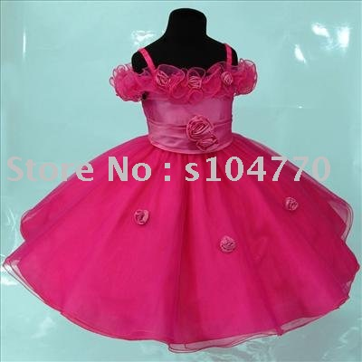 a15c55f7fed Free Shipping wholesale retail Hot pink Wedding Party Flower Girl Dress  2-3y SZ-3