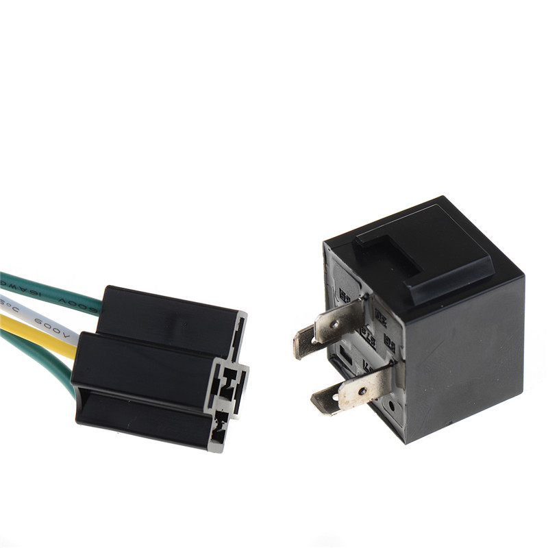 1Pcs 12V 12Volt 40A Auto Automotive Relay Socket 40 Amp 4 Pin Relay & Wires P0.05 dc 12v volts 40a insulation housing nc spst 4 pin car power relay jd1912 10 pcs