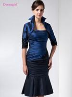 Black Blue 2018 Mother Of The Bride Dresses Mermaid Strapless Taffeta Lace Plus Size Short Elegant