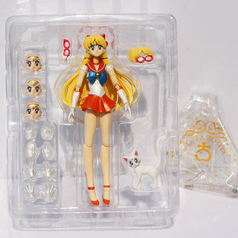 Sailor Moon Sailor Venus Figure Toy Minako Aino PVC Action Figures Collectible Model Doll Toys 6 15CM shfiguarts batman injustice ver pvc action figure collectible model toy 16cm kt1840