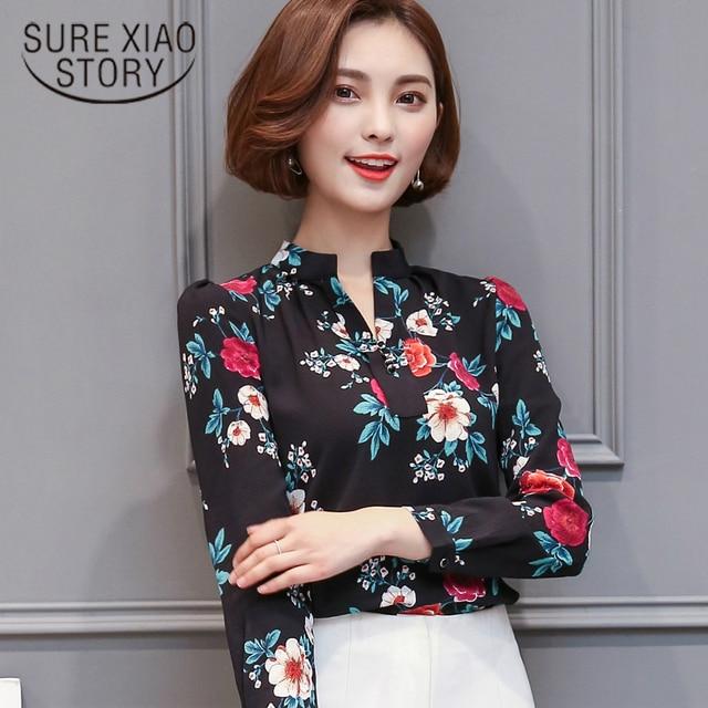 f607789e1f16 2019 new fashion women clothing Korean style blouse tops Sweet Girl shirt  Slim lady printed chiffon small shirt tops 66H 30