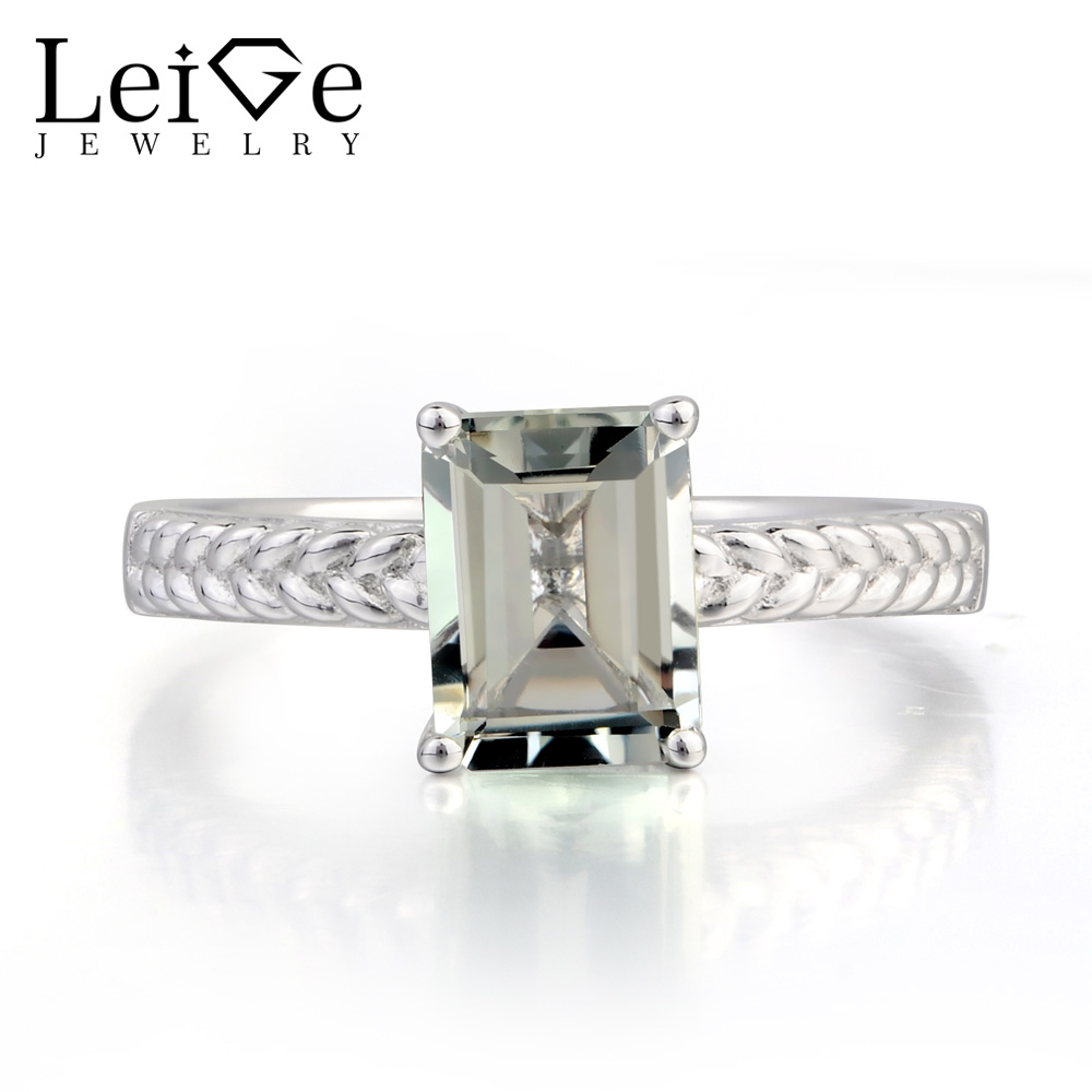 Leige Jewelry Natural Green Amethyst Ring Proposal Ring Emerald Cut Green Gems 925 Sterling Silver Ring Solitaire Ring for Her leige jewelry solitaire ring natural green amethyst ring anniversary ring emerald cut green gemstone 925 sterling silver gifts