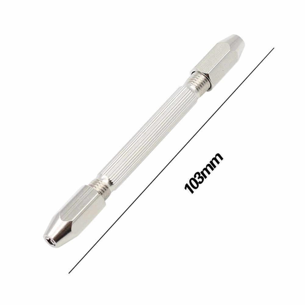 Двойная головка микро алюминиевый ручной патрон, работающий без ключа + 10 шт. твист дрель небольшое сверло Деревообработка бурильные долото инструменты # es
