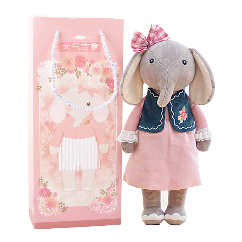 METOO Plush Elephant Toys with Gift Package Kids Birthday Gifts Stuffed Metoo Elephants Dolls for Girls New Arrival hot sale cute dolls 60cm oblong animals pillow panda stuffed nanoparticle elephant plush toys rabbit cushion birthday gift
