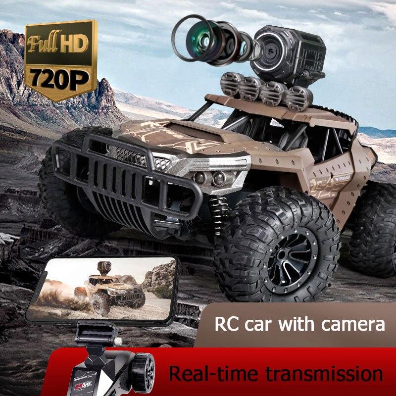 Voiture RC de course électrique à grande vitesse de 25 km/h avec caméra WiFi FPV 720P HD 1:18 Radio télécommande montée hors route Buggy Trucks jouets