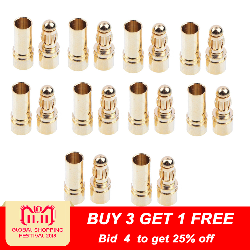 20pcs/lot 3.5mm Gold Bullet Banana Connector Plug For ESC Battery Motor (10 pair) встраиваемый холодильник asko rfn31831i