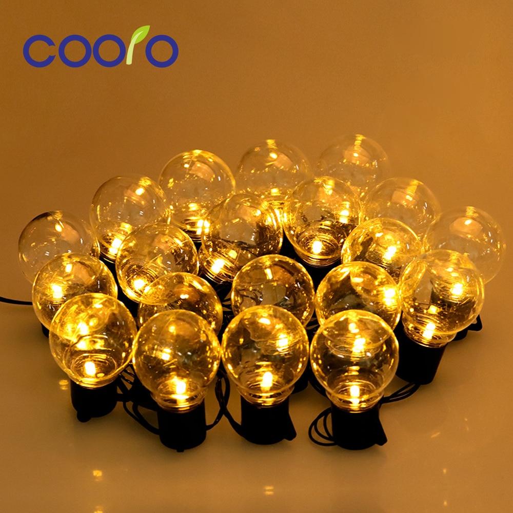 20 Globe Bulbs LED Garland Holiday Fairy String Lights 6M Christmas Lights Outdoor Garden Decorative Lights Waterproof