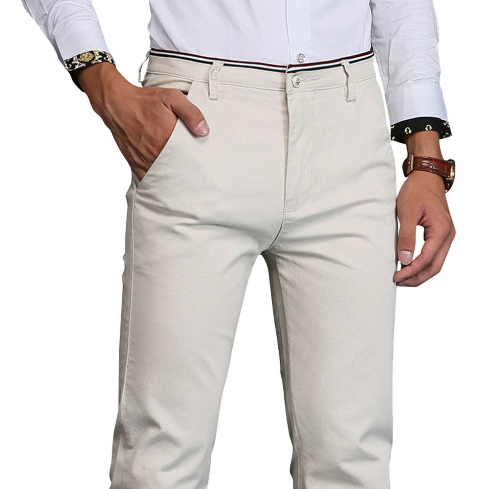 Slim Fit Casual Khaki Pants Mens Hight Quality Business ...