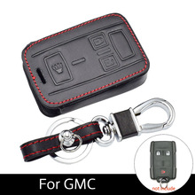 Genuine Leather Car Key Case For GMC Canyon Sierra Yukon Chevrolet Colorado Silverado Tahoe Suburban Leather Key Holders цена и фото