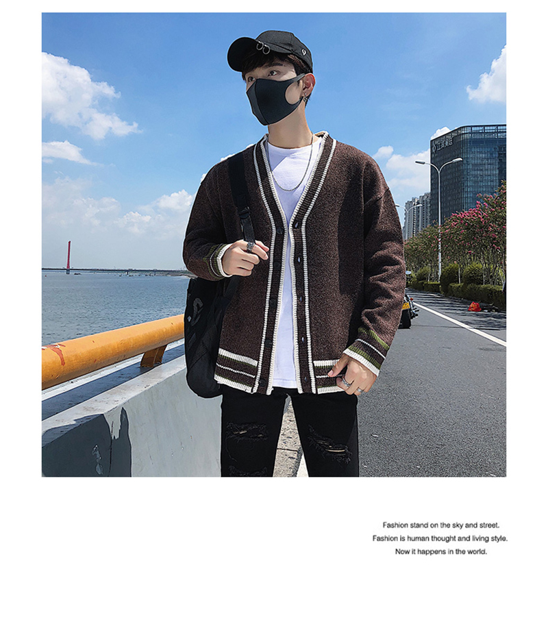 Check Button Cardigan Male Oversize Loose Streetwear (23)