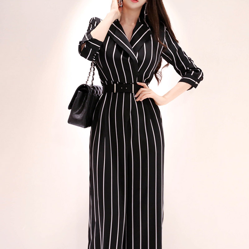 Women Elegant Striped   Jumpsuit   Long Pants OL Rompers V-neck 2019 Spring Summer Wide Leg Pants Jumpsuirt With Belt