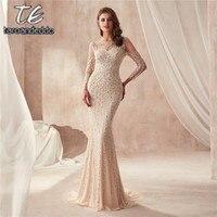 Платье для выпускного Шампань с высоким воротом и длинными рукавами, блестящее вечернее платье с вырезом и кристаллами