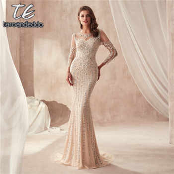 High Neck Long Sleeves Champagne Prom Dress Full Crystals Bling Bling Sheath Evening Dress - DISCOUNT ITEM  0% OFF All Category