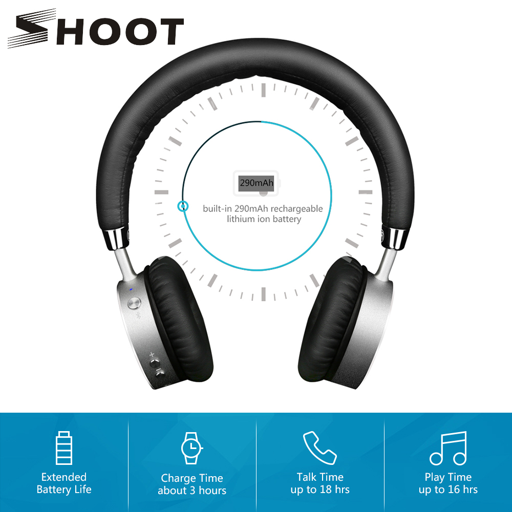 SHOOT 4.0 Cuffie senza fili Bluetooth per iPhone Xiaomi Telefono Android con microfono Cuffie con isolamento del rumore Bluedi On Ear