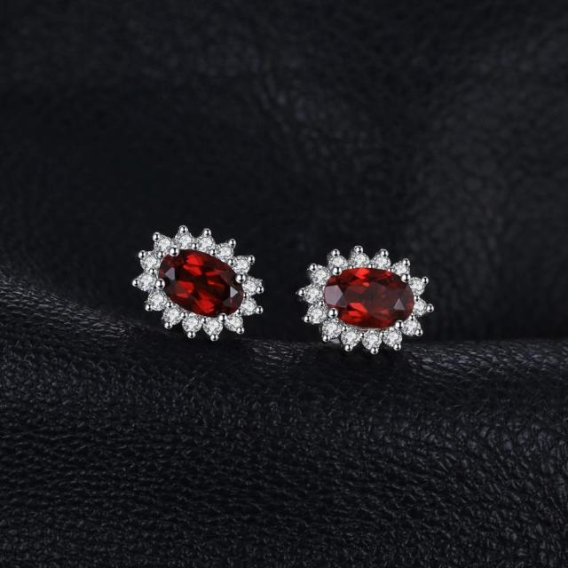 Kate Middleton's Garnet Halo Stud Earrings