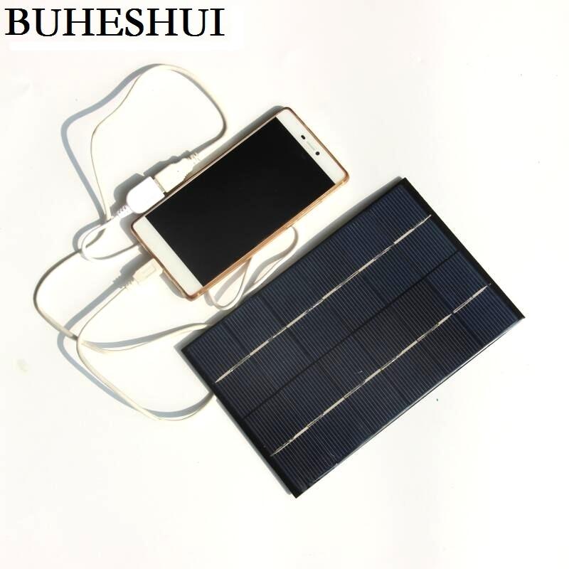 BUHESHUI 6V 4.2W Solar Panel Charger Polycrystalline Solar Cell Solar Mobile Charger Mobile Power Bank USB Output FreeShipping