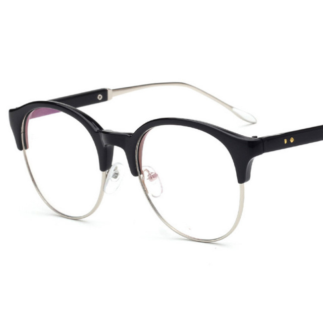 Diesel Half Frame Glasses : 2017 New PC + Metal Round Half frame Eyeglasses Frames ...