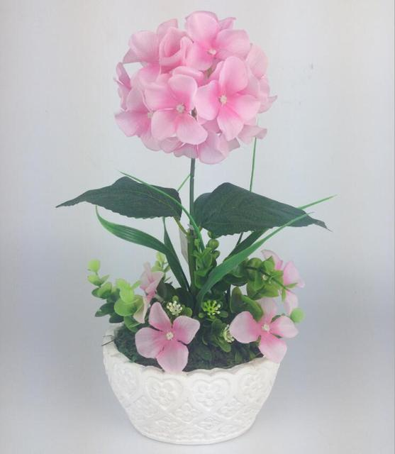 2017 artificial Hydrangea silk flower with leaves fake flowers ...