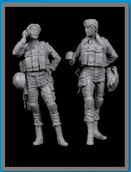 1/35 Modern Israeli Women Soldiers Set   Toy Resin Model Miniature Kit Unassembly Unpainted