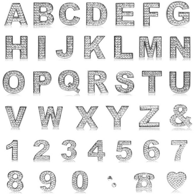 Car Metal Stickers English Letters Sticker A To Z And 0 9 Number Digital