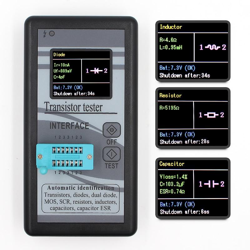 Probador de Transistor multiusos 160*128 diodo tiristor capacitancia resistencia inductancia MOSFET ESR LCR medidor TFT pantalla de Color