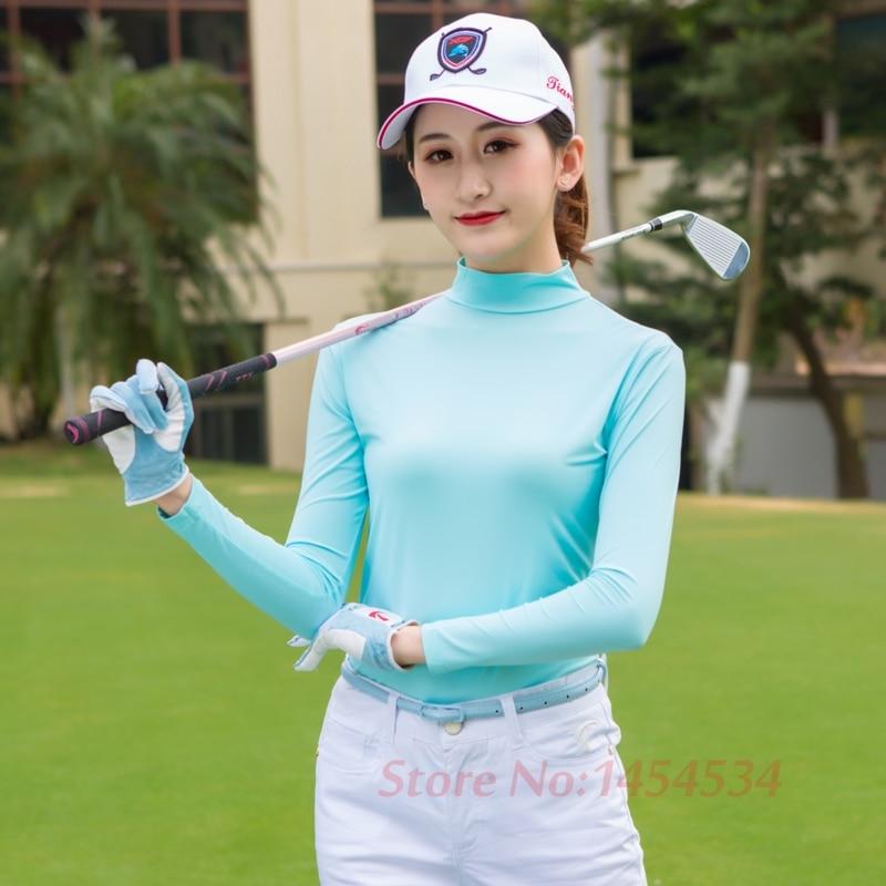 Ultra-cool Sunscreen Lady Long Sleeved T-shirt Bottoming Coat Functional Summer Ice Silk Jersey Outdoor Sport Golf/Tennis/ Shirt