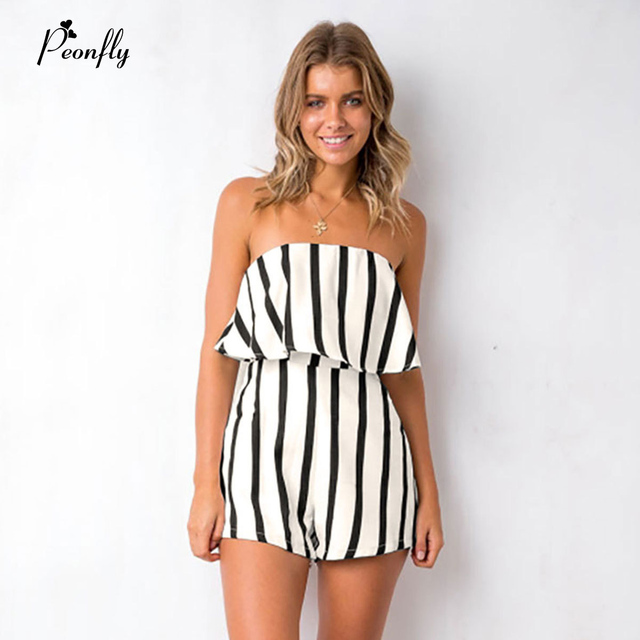 70c00bb62355 PEONFLY Womens Striped Romper Bohemia Short Jumpsuit Fashion Summer Sexy Off  Shoulder Playsuit Girls Elegant Jumpsuit