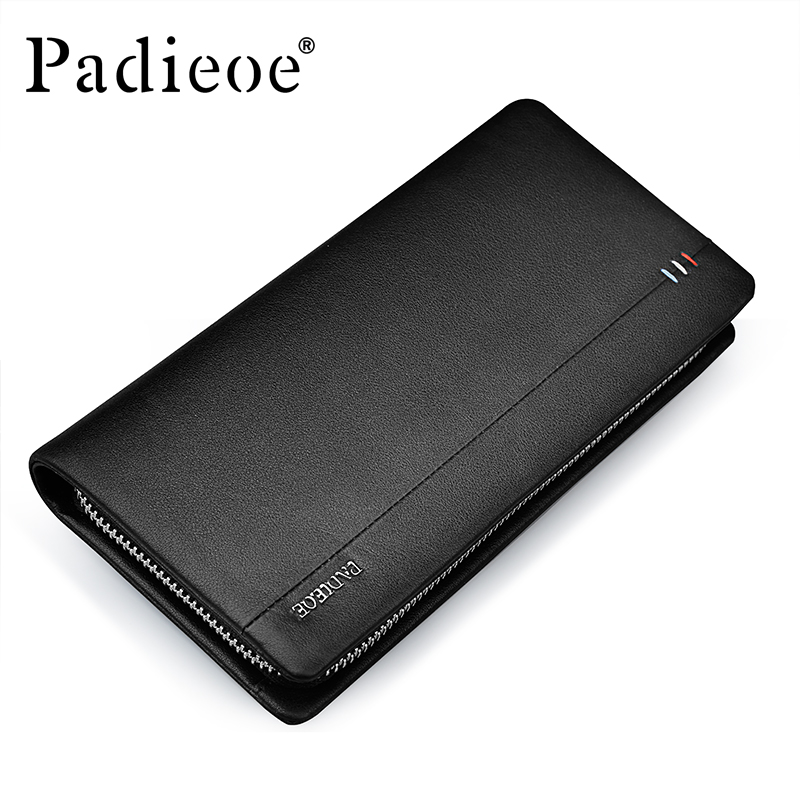 Padieoe Luxury Genuine Leather Men Clutch Wallet Large Capacity Credit Card Holders Purse Fashion Business Men Long Wallets new men genuine wallet fashion casual pu credit id card holder purse wallet long business male clutch hot selling 2016
