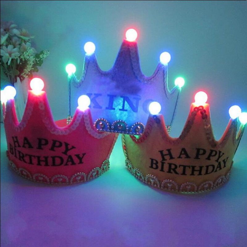 2018 New Princess King Boy Girls Light Up Crown Headbands LED Blinking Flashing Birthday Party Hat Supplies