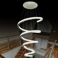 Spiral Design Modern LED Chandelier Crystal Lamp Dia80 H220cm Lustre Hotel Staircase Lighting Fixtures