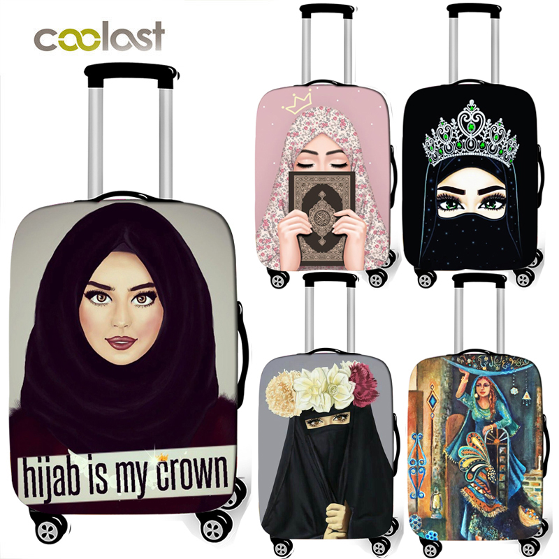 Hijab Face Muslim Islamic Gril Eyes Print Luggage Covers  Travel Accessories Elastic Anti-dust Suitcase Cover For 18-32