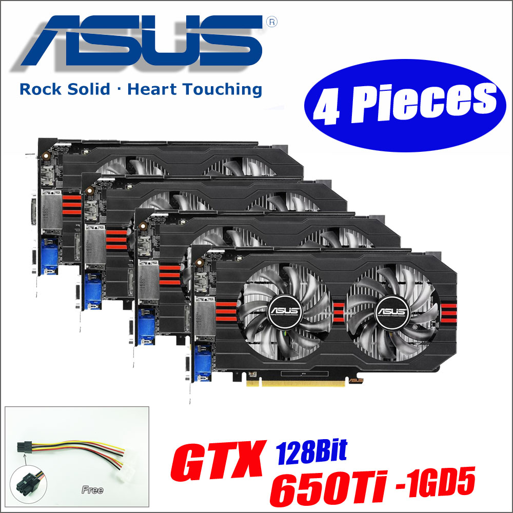 ASUS Graphics Card Used Original 4pieces GTX650Ti-1GD5 GTX 650 Ti 1GB 128Bit GDDR5 Video Cards for nVIDIA Geforce GTX 650Ti VGA