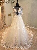Luxury Lace Ball Gown Long Sleeve Wedding Dresses 2017 Gelinlik Sweetheart Sheer Back Princess Illusion Applique