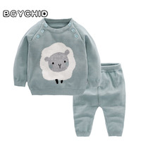 BGYCHID 2pcs Baby Boy Clothing Set Wool Cotton Girls Infant Warm Pullover Pants Suit Newborns Toddler